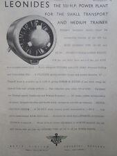 6/1946 PUB ALVIS AERO ENGINES LEONIDES AIR COOLED RADIAL ENGINE ORIGINAL AD