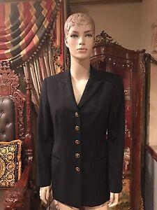 fabriquée Allemagne en laine veste Escada Sz 38 en noire Nouvelle n60Afq5wq