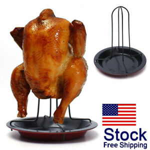 Kitchen-Chicken-Duck-Holder-Rack-Grill-Stand-Roasting-BBQ-Tools-Rib-Non-Stick-US