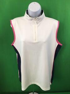 IZOD-XFG-Womens-Golf-Athletic-1-4-Zip-Sleeveless-Top-Sz-L-Large-White-Pink-Blue