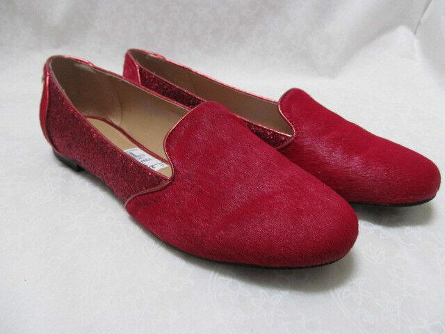 IMAN ROT LEATHER HAIRCALF & ROT GLITTER Schuhe SIZE 7 1/2 M - NEU W BOX