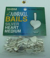 25 Aanraku HEART BAILS Sterling Silver Plated Medium Fusing Supplies Glue On