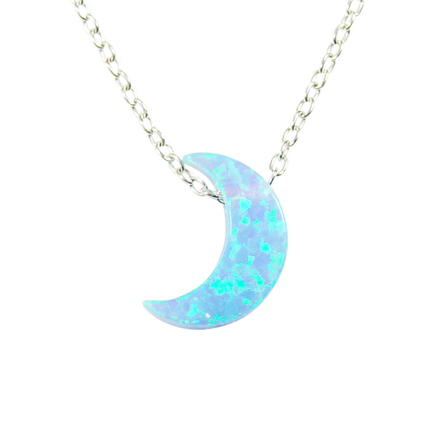 White Moon Opal Necklace,Gold Filled 925 Sterling Silver Necklace,Crescent Moon Pendant Necklace,Opal necklace,Opal Moon Necklace