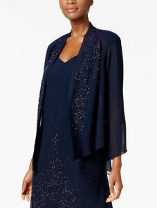 b54ea1a8913 Details about  209 R M RICHARDS WOMENS BLUE OPEN FRONT BEADED BELL SLEEVE SHEER  JACKET SIZE 14
