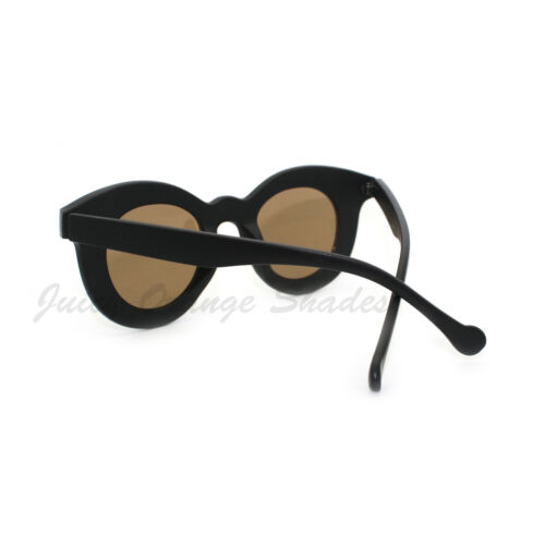 Round Cateye Circle Frame Sunglasses Matte Black Color Mirror Lens
