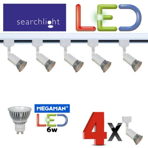 SEARCHLIGHT TRACK LIGHTING SPOTLIGHTS 4 X SPOTS 6 WATT LED LIGHT WHITE DIMMABLE