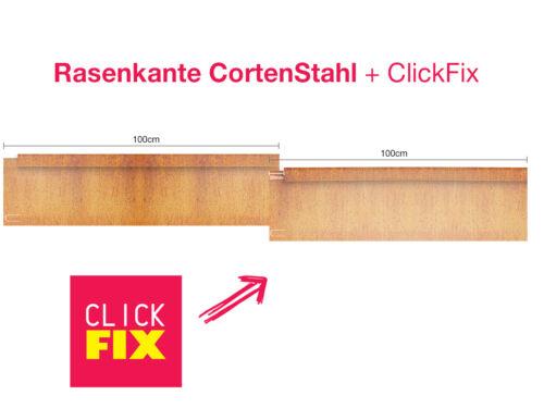 180mm Cortenstahl Edelrost Mähkante Beeteinfassung Stahl Rasenkante 1mm 150