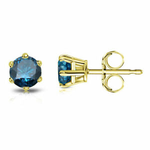2-5CT-Round-Blue-Diamond-6-Prong-10k-Solid-Yellow-Gold-Solitaire-Stud-Earrings