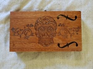 Cigar-Box-for-DIY-Project-guitar-with-F-hole-and-Sugar-Skull-Carving
