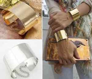 Gothic-Punk-Gold-Silver-Wide-Metallic-Mirrored-Cuff-Chain-Bracelet-Bangle-Unisex
