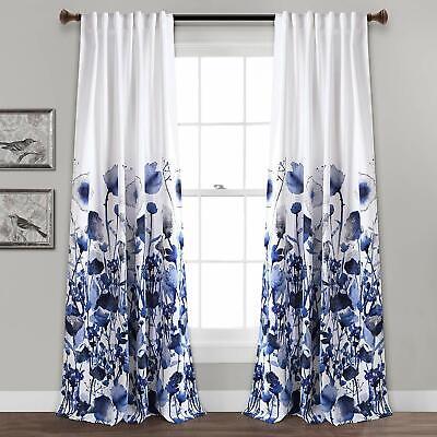 Set 2 Navy Blue White Spring Floral Curtains Panels Drapes 84 Inch L Darkening Ebay
