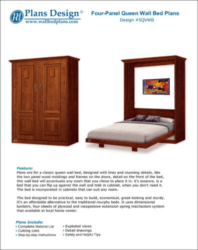 2 Panel Frame Queen Wall Bed, Bed Frame Extension Full To Queen