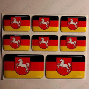 Pegatinas-Baja-Sajonia-Alemania-Pegatina-Bandera-Adhesivo-3D-Relieve-Resina