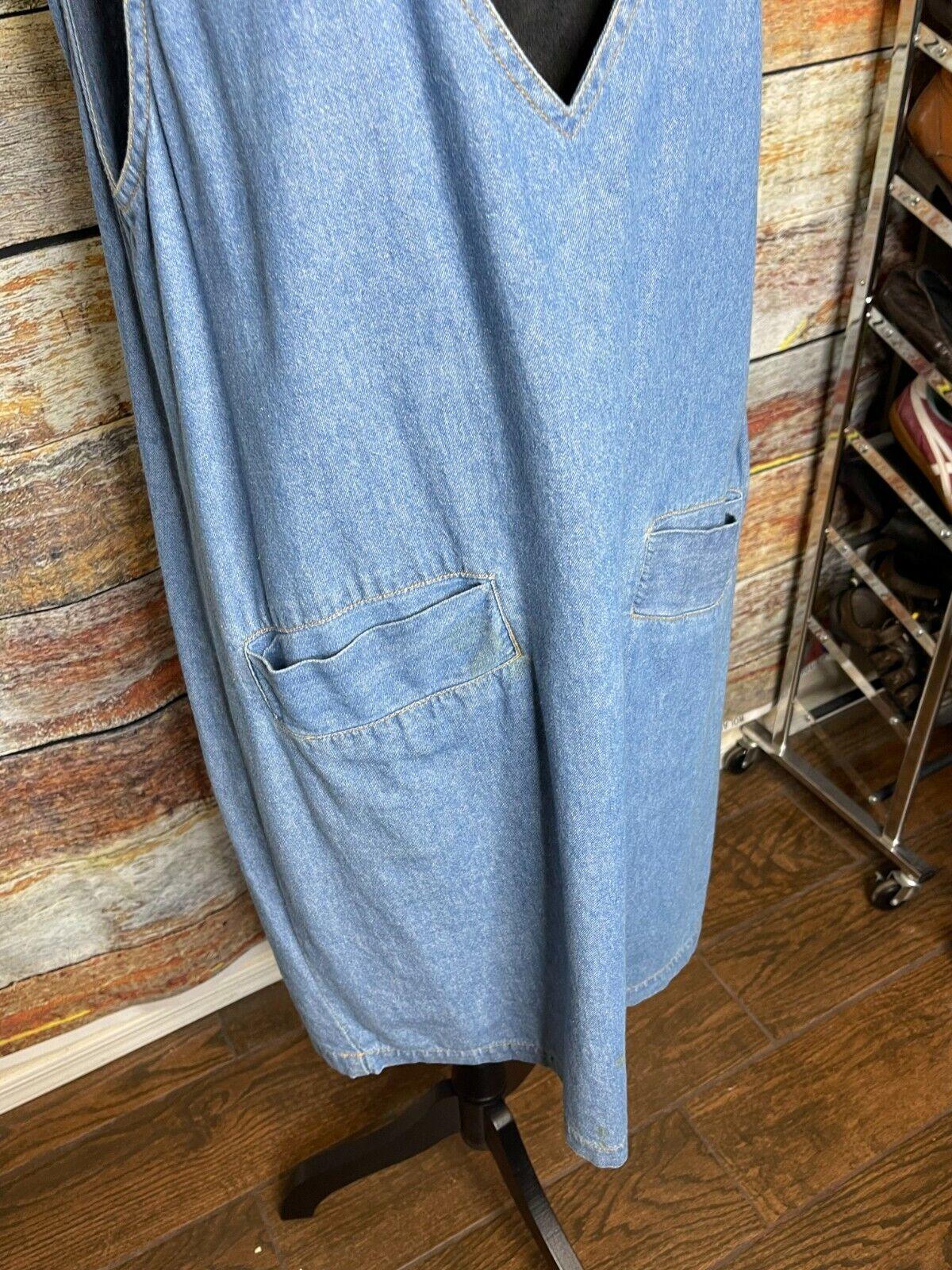 Vtg D.P.S. New york Denim jean jumper apron pinaf… - image 2