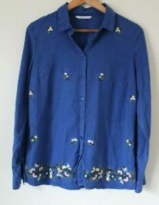 TU-Blue-Chambray-Boho-Floral-Embroidered-Blouse-Shirt-Top-Oversized-Size-8