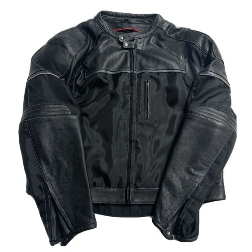 FIRST RACING MOTORCYCLE LEATHER JACKET PADDED RACI