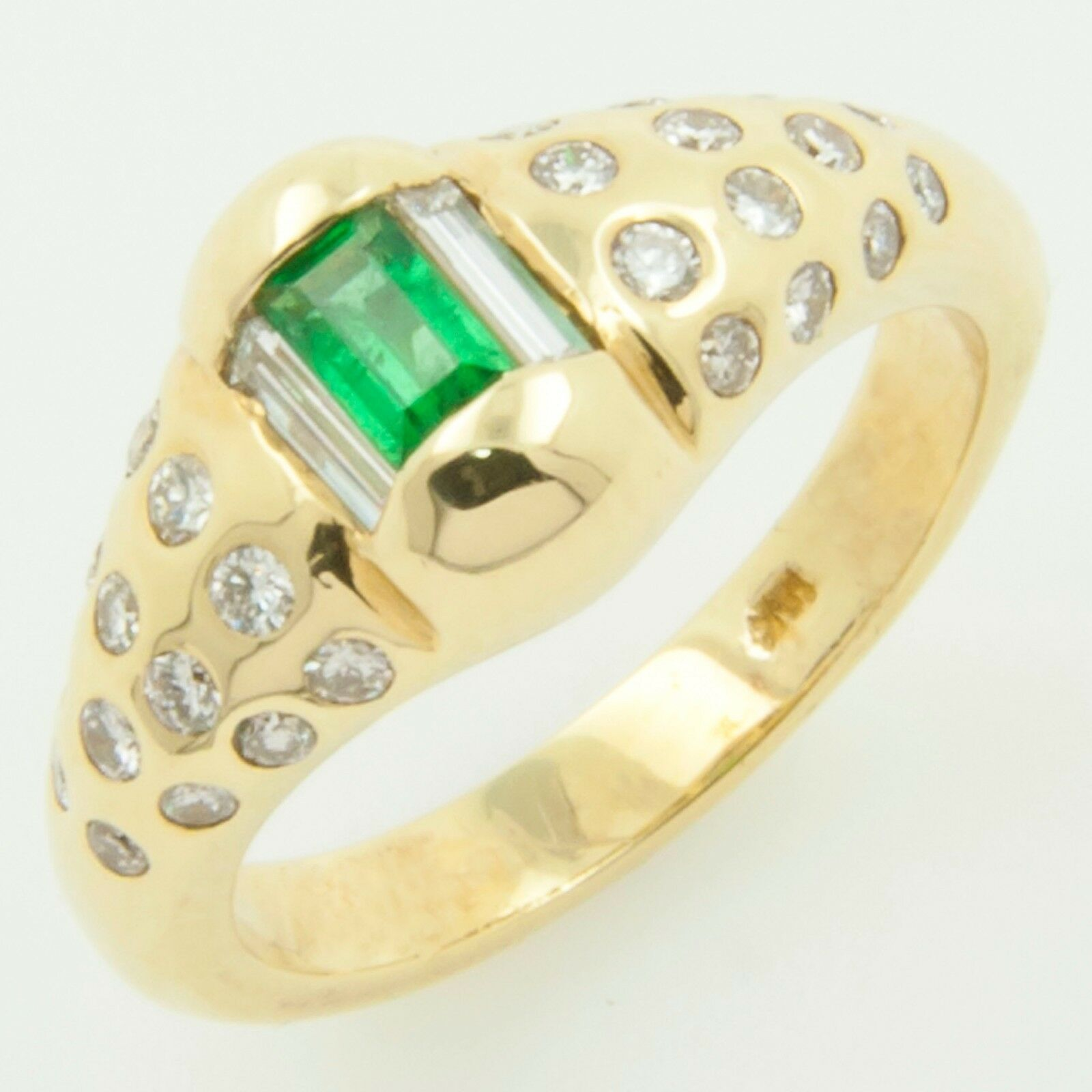 Natural Green Emerald & VVS Diamond Ring 18k solid yellow gold US Size 7.25