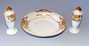 Noritake-Handpainted-Gold-Floral-Open-Handle-Bon-Bon-Dish-Bowl-w-2-Salt-Shakers