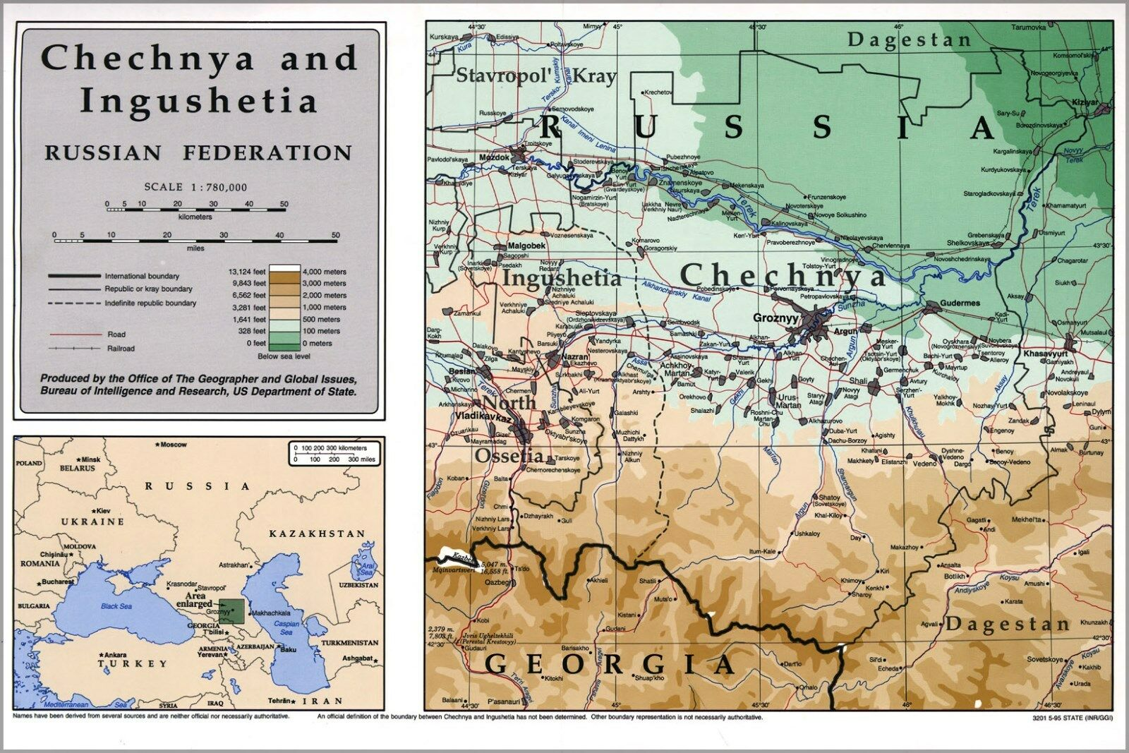 Poster, Many Größes; Map Of Chechnia (Russia) 1995 P2