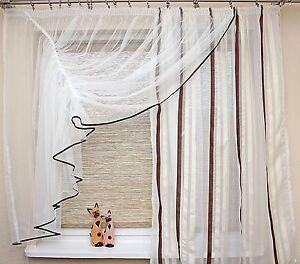 geraffte fertig-gardine weiß creme braun 350/165 wohnzimmer küche ... - Wohnzimmer Weis Creme