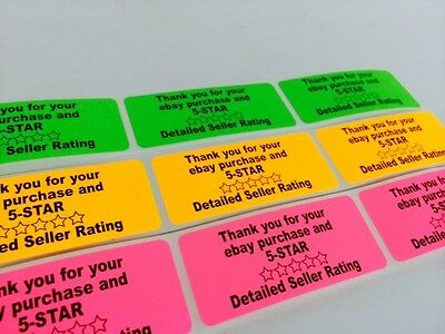 "1"" x 3"" Rainbow Pack Thank You 5-Star Labels Stickers Orange,Pink,Green NEW"