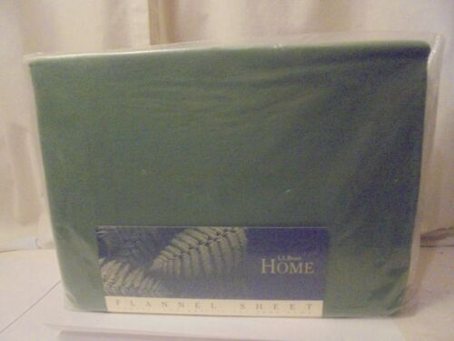 """One NEW Fitted Flannel Twin Sheet LL Bean color Bay Leaf 39/""""x 76/"""" 15/"""" Pockets"""