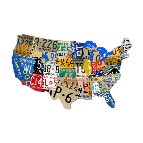 Vintage License Plate USA Map of The United States Steel Metal