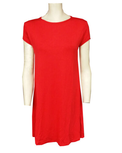 RSVH WSD Womens Red Tartan Print Short Crop Sleeve Swing Skater Dress