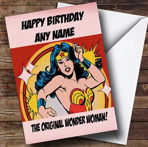 Image Is Loading Original Wonder Woman Personalised Birthday Greetings Card