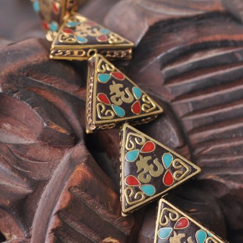 1pcs 28x30mm Fait Main Népal tibétain turquoise laiton loose Artisanat Perles 48#