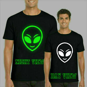 Alien-Head-Glow-in-the-Dark-T-shirt-Halloween-Cadeau-Festif-Enfants-amp-Adultes-Top