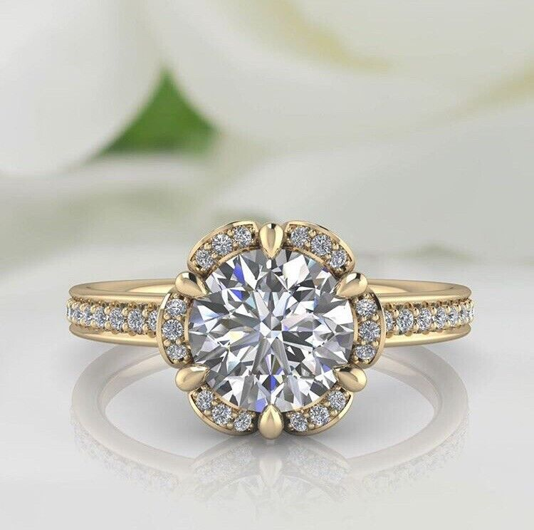 2 Carats Moissanite, Floral Look Engagement Ring