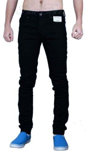 Enzo Mens Jeans Stretch Cuffed Soft Fabric Skinny Slim Fit Trousers Pants