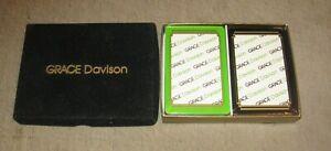 GRACE DAVISON Unused/Unopened 2-Deck (Bridge?) Playing Cards in Name Box