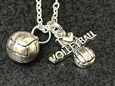 "I Love Volleyball & 3D Ball Mix B Charm Tibetan Silver 18"" Necklace"