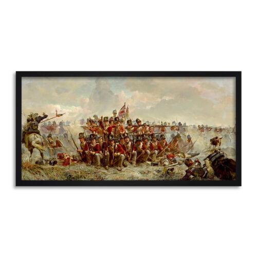 Thompson el 28th Regiment en Quatre Bras Pintura Largo Pared Arte Enmarcado 25X12 en