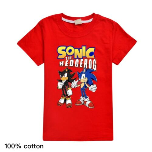 Sonic The Hedgeho Children Youth Short Sleeve T-Shirt Tops Kids 100/% Cotton Tee