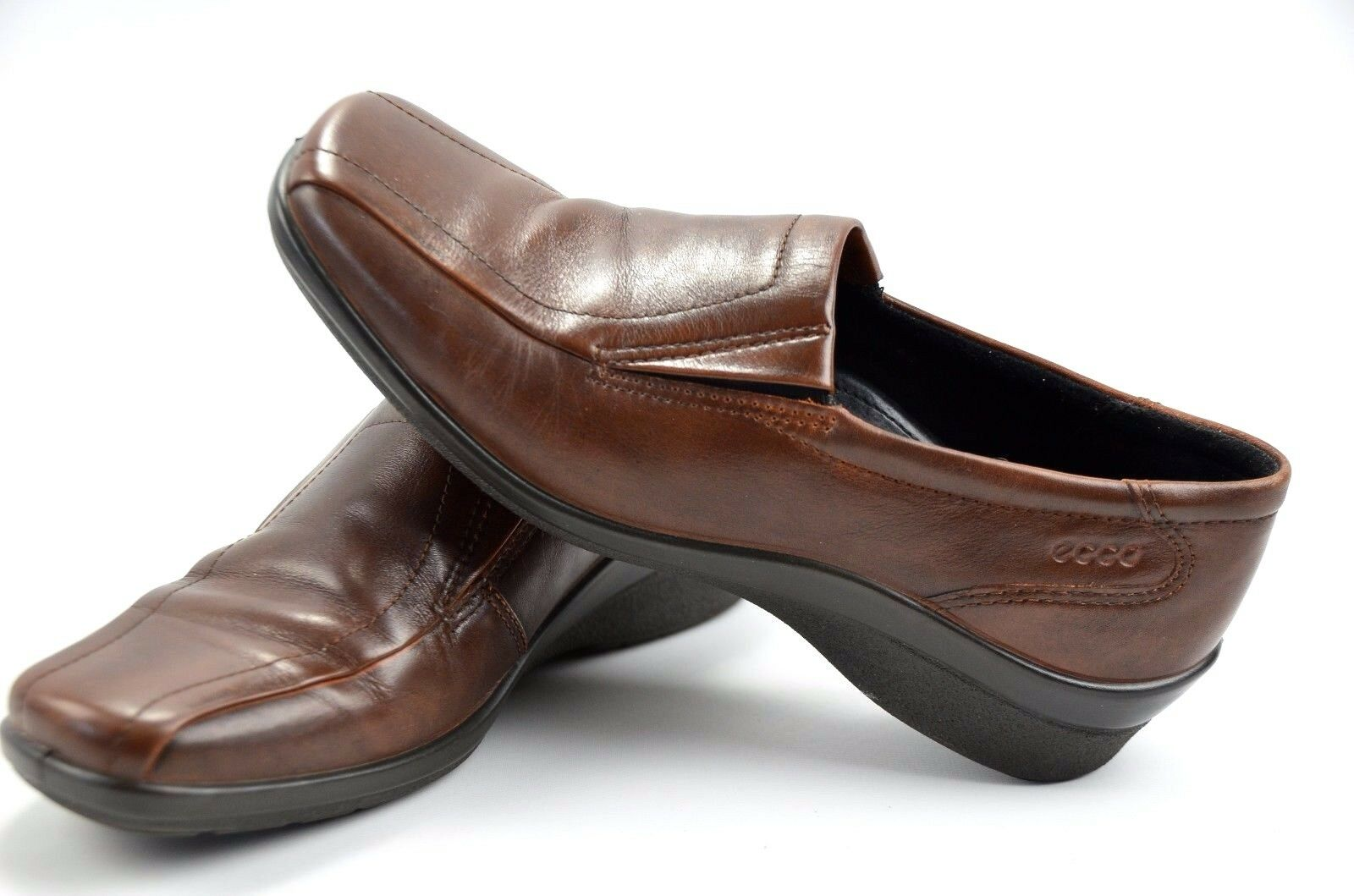 Ecco Slip Womens Brown Leather Loafers Slip Ecco On Casual Shoes size 37 US 68922b