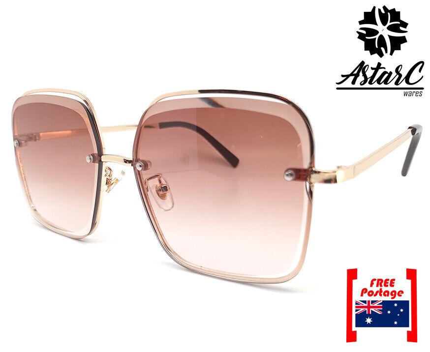 Brown Rimless Square Metal Sunglasses Women/UV Protect/UV400 - AstarC Wares