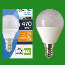 6x 5.5W (=40W) Pearl Dimmable LED SES E14 Round G45 Golf Ball Light Bulb Lamp