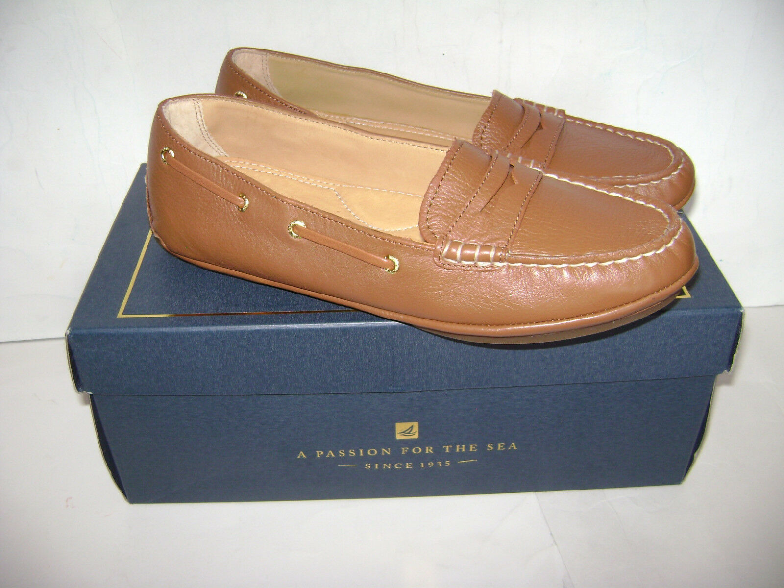 NIB SPERRY TOP SIDER gold CUP PENNY DRIVER COGNAC WOMEN SHOES Size 6.5 M LOAFERS