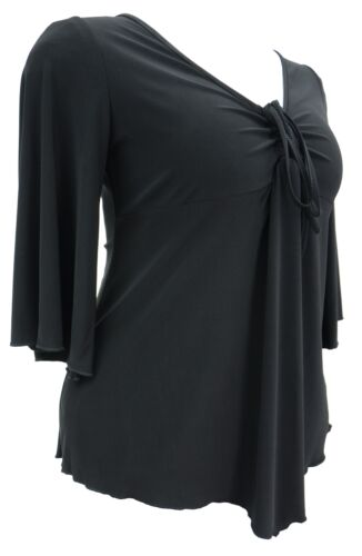 Womens 16-26 Gothic Flared Sleeve Stretch Black Floaty Top Ladies Made In UK