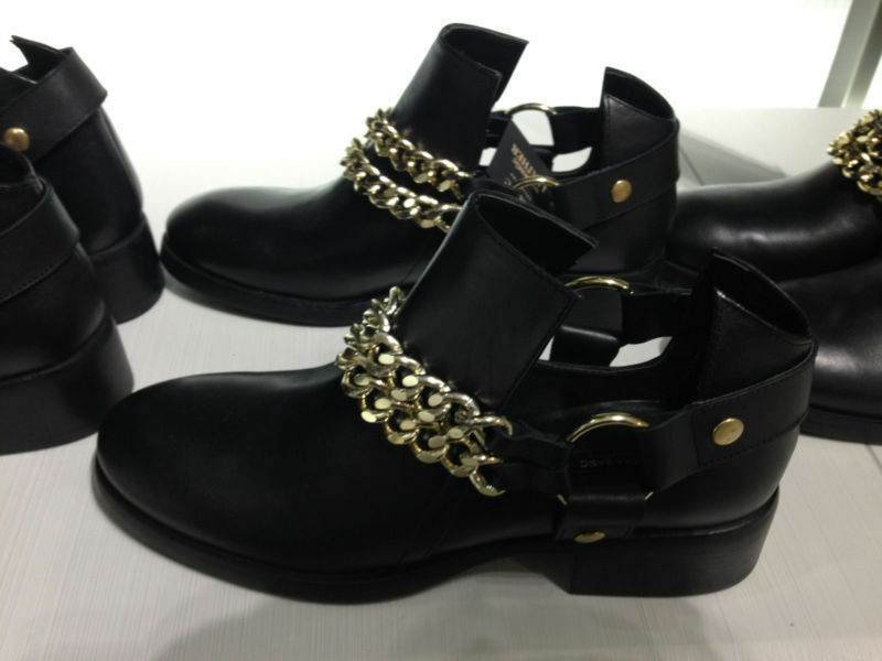 ZARA BLACK LEATHER BOOTIE WITH GOLD CHAINS 36-41 REF. 2161/001