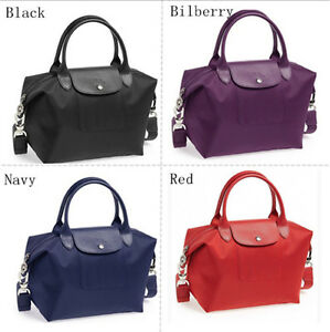 4ae5734cbd3a Auth Longchamp Le Pliage Neo Small Handbag Black Navy Red Bilberry ...