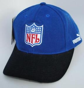 c8aa7034 PUMA NFL One Size Snapback Curved Brim Blue & Black Baseball Cap Hat ...