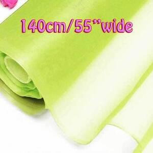 2 Yards Shadow Lime Pure Silk Organza Bridal Dress Fabric 140cm W