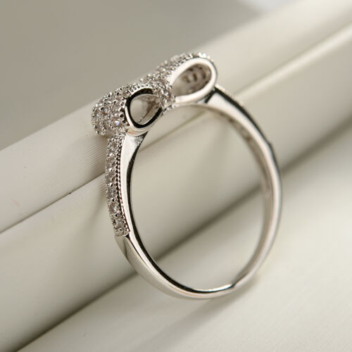 Women/'s White /& Rose Gold Plated BOW RING Anniversary Edition SIZE 6,7,8,9 Lola