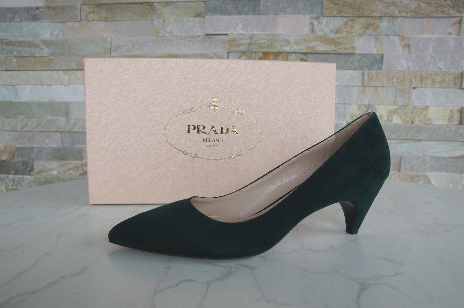 PRADA T 37 escarpins chaussures 1i064f flaschenvert bottiglia Vert Nouveau Ancien Prix Recommandé