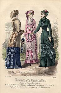 """108/ Gravure De Mode """" Journal Des Demoiselles """" 1882 Superbes Couleurs ! Remises Vente"""