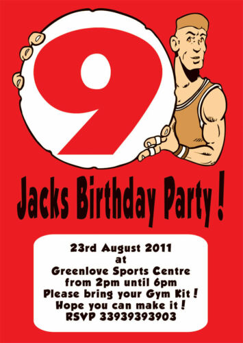 12 x Personalised Birthday Party Invites Basketball Player HoopsH1297